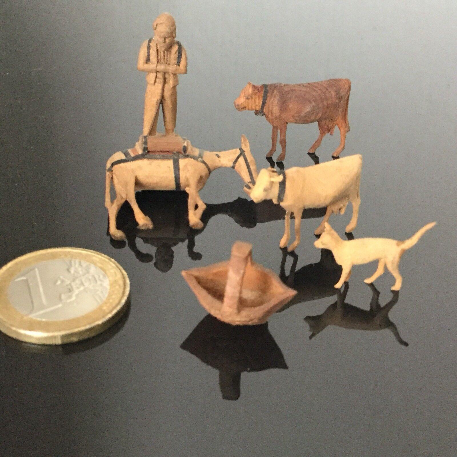 6 PIECES Miniature Bois Sculpté XIXè Maison Poupée Mignonette Victorian Doll 19C