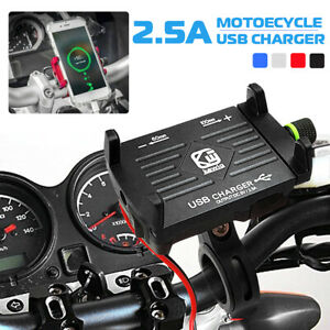 Full-Aluminum-Motorcycle-Bike-Handlebar-Cell-Phone-Holder-Mount-USB-Fast-Charger