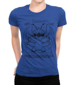 53c72006bc5c Vitruvian Stitch Graphic T-Shirt, Lilo & Stitch Funny Disney Women's ...