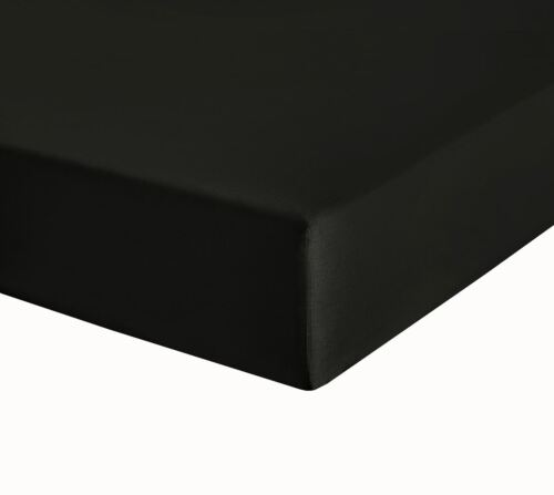 Black Egyptian Cotton Percale Double Fitted Sheet 400TC Fully Elasticated