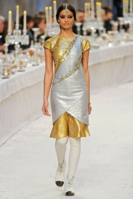 $6265 Chanel Paris Bombay Gold Silver Sequin Embroidered Layers Dress 40 12A