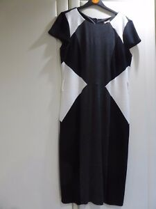 Lovely-M-amp-Co-Black-Grey-and-White-Panel-Dress-Size-10