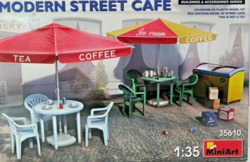 Tische,Stühle,Sonnenschirme Street Cafe MiniArt,1:35,OVP,35610,HB Bausatz