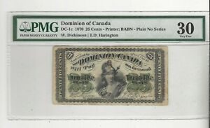 1870-Dominion-of-Canada-DC-1c-25-Note-PMG-VF-30-Dickson-Harington-See-Desc