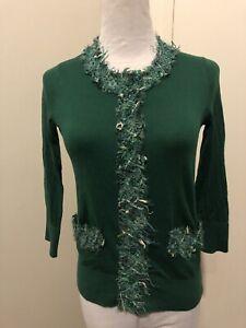 Kate-Spade-Sz-XS-Kelly-Green-Cardigan-Sweater-Silk-Boucle-Tweed-Trim-3-4-Sleeve