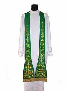 Details about Green Roman Clergy Stole SH4-Z Vestment Étole Verte Grün  Stola Verde Estola