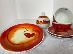 THUN-Caffe-Al-Volo-VALENTINES-Heart-Plate-Saucers-Tea-Cups-Sugar-W-Lid-Porcelain
