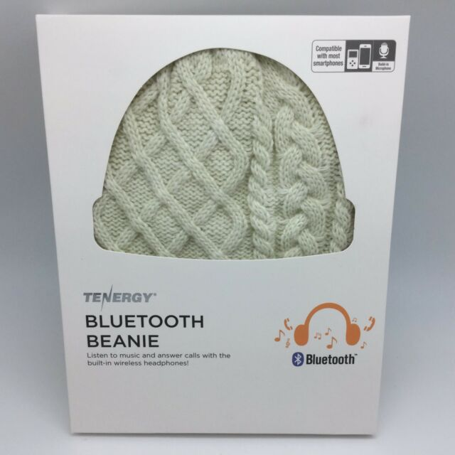 f91daaed55b Tenergy Bluetooth Beanie - Headphones Microphone Hands-Free - Cream Cable  Knit