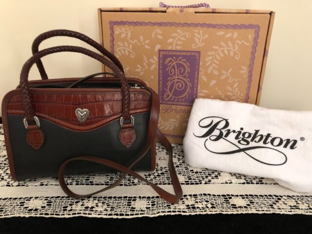 BRIGHTON HANDBAG NO.134265 W/ORIGINAL BOX AND DUST CLOTH, BLACK/BROWN CROC