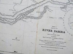 Details about 1826 RIVER GAMBIA MACCARTHY'S ISLAND VINTAGE ADMIRALTY CHART  MAP