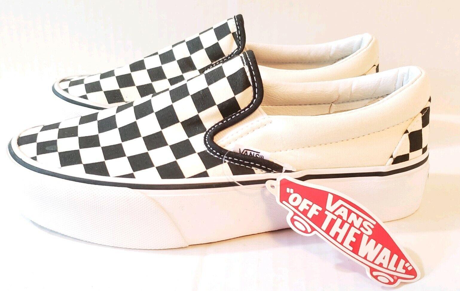 Vans Clásico Slip On Tablero De Damas Plataforma blancoo Negro para Hombre 5.5 Zapatos para mujer 7.0