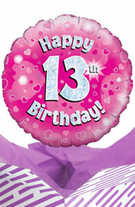 Image Is Loading Happy 13th Birthday Pink Balloon In A Box