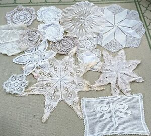 Lot of 15 Vintage Antique White Ivory Crochet Round Oval Lace Doily Doilies