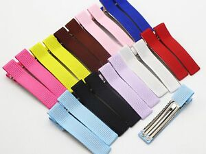 20-Grosgrain-Ribbon-Covered-Metal-Double-Prong-Alligator-Hair-Clips-48mm-Half