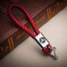 Auto Leder Schlüsselanhänger Rot Benz Emblem Keyring Schlüssel Anhänger Mercedes