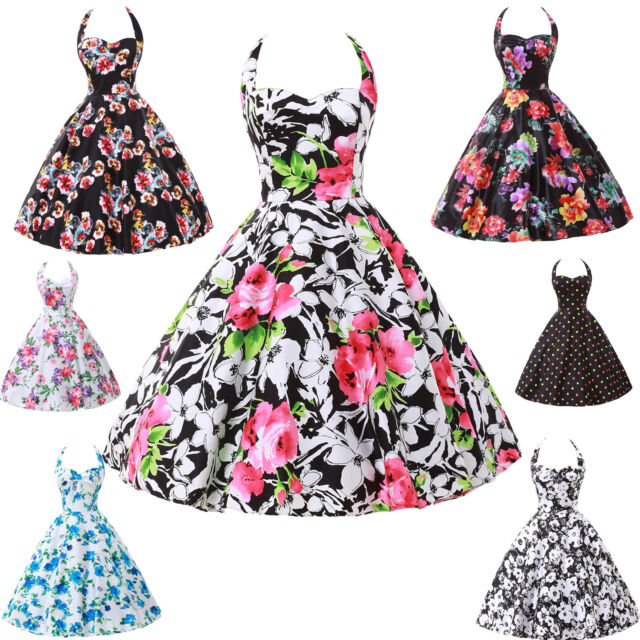 LADIES VINTAGE 50S 60S FLORAL PARTY SWING PROM EVENING DRESS 7COLORS