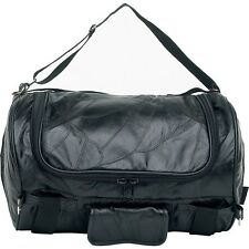 Leather Motorcycle Barrel Duffle Bag, Men Black Overnight Carry-On Tote Suitcase