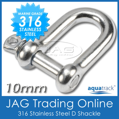 10mm 316 STAINLESS STEEL STANDARD D-SHACKLE M10 Sailing//Boat//Marine//Shade//Sail