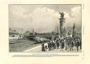 PONT-ALEXANDRE-III-PARIS-L-039-ESPLANADE-DES-INVALIDES-ANTIQUE-PRINT-1900