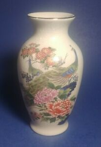 "Vintage Peacock Floral ""6 Tall Vase Porcelain Gold Trim"
