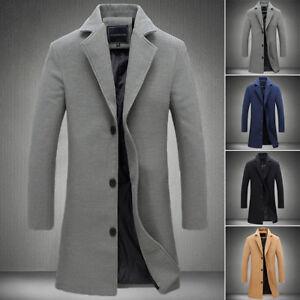 Nouvelle-Mode-Homme-Manteau-Laine-Hiver-Trench-Coat-Exterieur-Veste-Longue-chaud