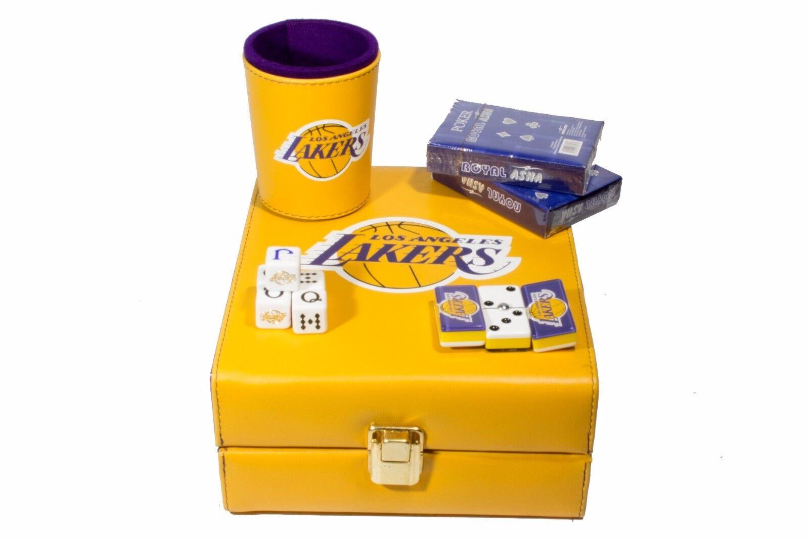 Los Angeles Lakers Deluxe Set 3 Juegos  Domino, dados Cup, 2 Tarjetas de Poker