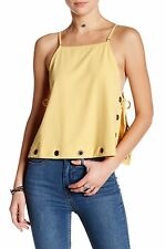NWT Free People Mustard Yellow City Fever Grommet Summer Tank Top Size M 8 10