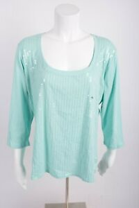 New-York-amp-Company-Women-039-s-Shirt-XL-Blue-Sequinned-Front-3-4-Sleeve-NWT