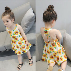 a0024dd3e39 Kids Toddler Baby Girl Sunflower Backless Casual Party Dress Holiday ...