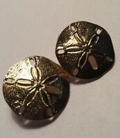 Vintage Sand Dollar Pierced Earrings Gold Tone Signed Park Lane Nautical Shell