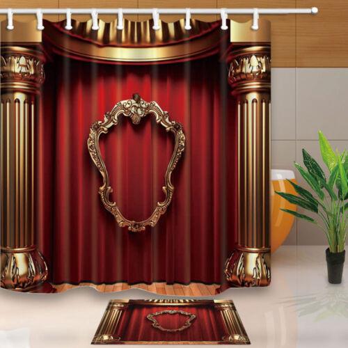 Retro theater Shower Curtain Bathroom Decor Polyester Fabric /& 12hooks 71*71inch