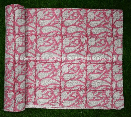 Details about  /Reversible Bedspread Bed Kantha Quilt Paisley Print Bedding Dohar Blanket Throw