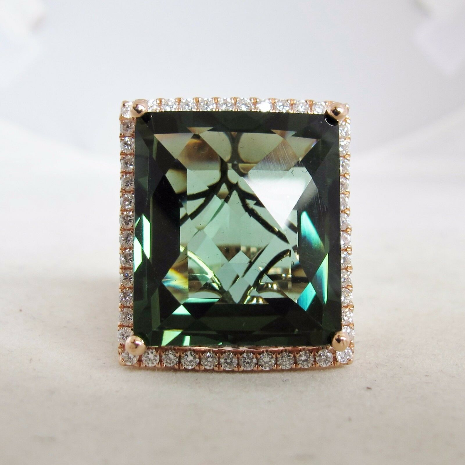 Big 14K pink gold Ring with 19.7mm Green Amethyst & Diamonds  (13.2g, size 6.5)