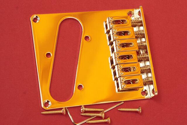 Puente Telecaster 6 Selletas Dorado Tele Bridge oro Strings Strings Strings Thru Body 6 Saddles  n ° 1 en línea