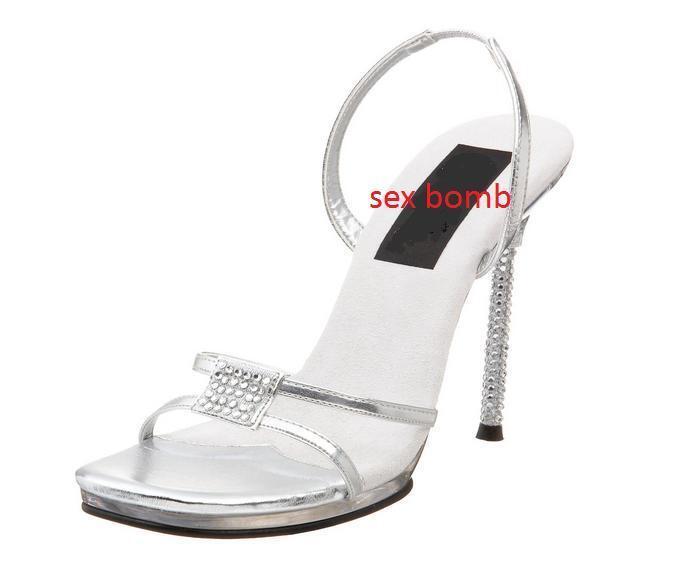 SEXY sandali argentoO mini plateau STRASS STRASS STRASS tacco 11,5 n. 38 fashion GLAMOUR   d5ac3f