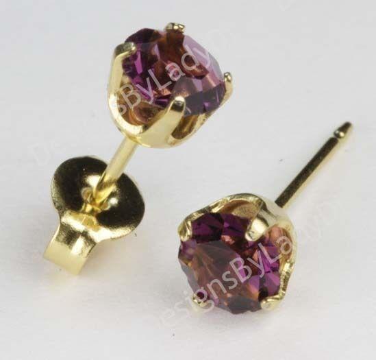 Studex Sensitive Gold 5mm February Purple Simulated Amethyst Stud Earrings Ebay