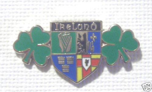 IRELAND DOUBLE SHAMROCK 4 PROVENCE ENAMEL LAPEL BADGE with free UK postage