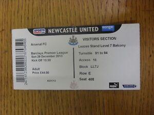 29-12-2013-Ticket-Newcastle-United-v-Arsenal-folded-Footy-Progs-Bobfrankand