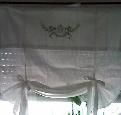 Raff Blind Curtain White Shabby Chic Monogram Brocade Vintage Cottage