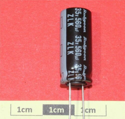 pacco da 4 Rubycon ZLK radiale Condensatore Elettrolitico 560µF 35V 105 ° C