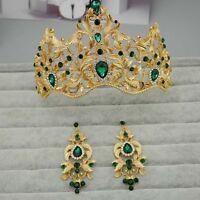 Bridal Queen gold tone Red Green rhinestone Hair Head tiara Crown Earring  HR386