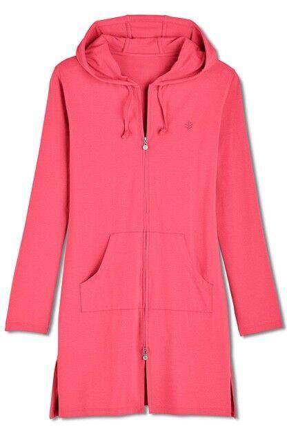 Coolibar Cabana Hoodie UPF 50+ Zip Up Long Sleeve Rosa Sun Protection