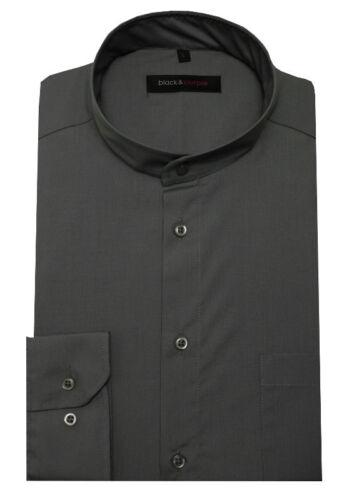 Collo alla coreana Uomo Camicia Grigio Manica Lunga Regular Fit bp-0037 anche taglie forti