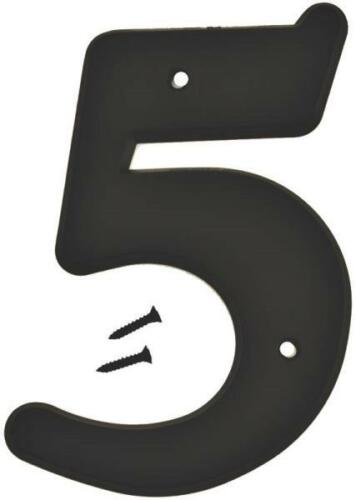 """5 BLACK PLASTIC LARGE 6/"""" HOUSE NUMBERS # 5 SALE 6055792 NEW HY-KO 30205 LOT OF"""