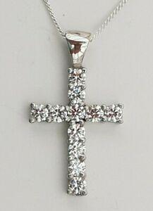 Conjunto-De-Cruz-Colgante-de-plata-esterlina-925-con-Cadena-de-Eslabones-pequenos-Swarovski-Zirconia