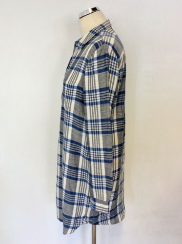 Long S Dutti Cotton Linen white Shirt amp; Blend Size Blue Check Grey Massimo 64xAwYB6qR