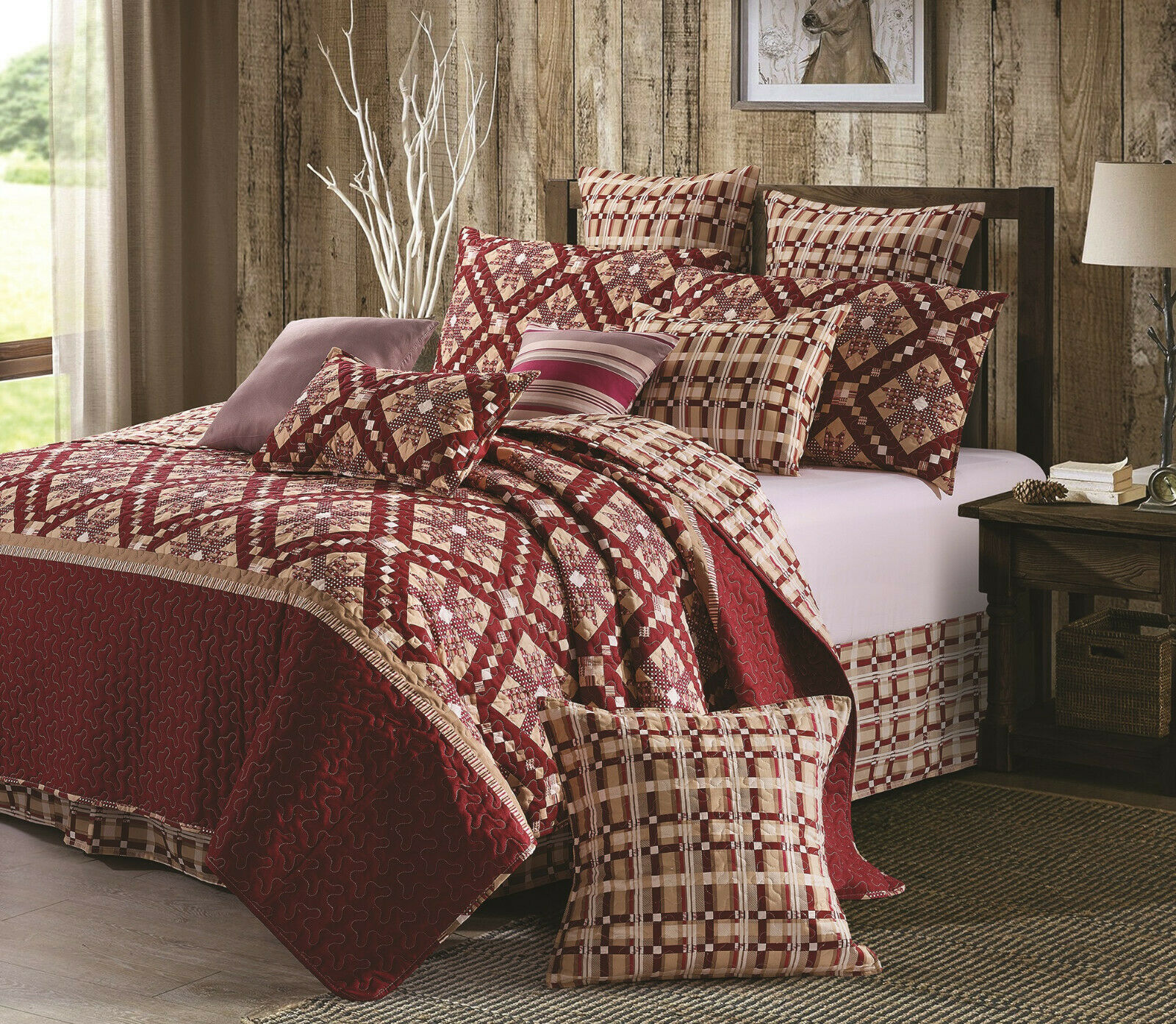 NINE PATCH STAR CRANBERRY rot 3pc König QUILT SET   COUNTRY FARMHOUSE STARBURST