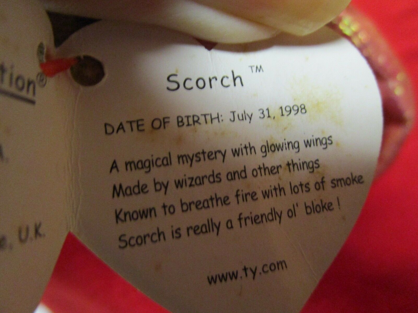 TY BEANIE BABY BABY BABY babies Scorch The Dragon Hang Tag Spelling Error Gosport 6a6099
