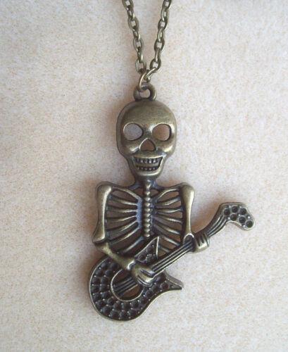 """Guitarra Esqueleto De Bronce Colgante Collar Cadena 22/"""" En Bolsa De Regalo-La Muerte Rock Punk"""