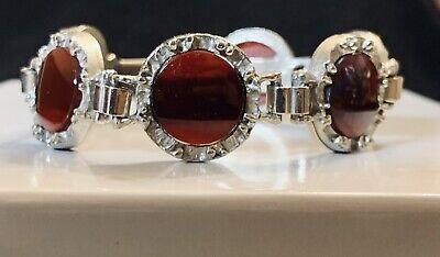 60s Wide Silvertone  Links  Black Glass Cabochons Bracelet